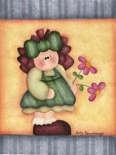 Flowers for you 🌸🌸🌸 Decoupage Vintage, Meninos Country, Arte Country, Country Paintings, Gif Animé, Tole Painting, Cute Images, Doll Crafts, Painting Patterns