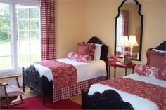 Country bedroom in red and white. by Romantic and Shabby Chic decorating ideas and tips.