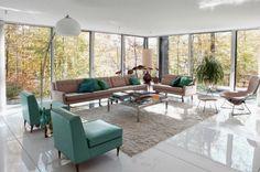 Bright Living Room Design Ideas with Fascinating Retro Furniture