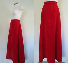 Red Velveteen Maxi Skirt / Vintage 1970s John by rileybellavintage