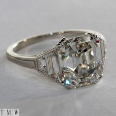 Antique asscher diamond ring