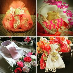 Wedding #trousseau display of goodies for friends and family. Make that extravaganza count with beautifully decorated trays and baskets. Decorative pieces of artificial flowers mixed with real flowers give a classy gifting look. #InspiredWeddingDecor #weddingplanning #kanpur