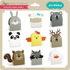Set of nine animal themed favor boxes Scrapbook Box, Moon Crafts, Family Crafts, Candy Bags, Origami Paper, Favor Boxes, 2nd Birthday, Cardmaking, Favors