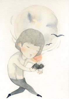 Mountain catcher - lovely dreamy illustration