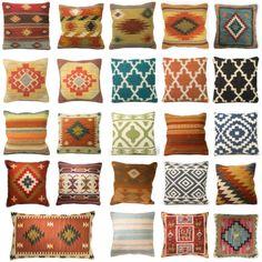 Kilim-Funda-De-Cojin-Indio-Tejidos-A-Mano-Lana-Algodon-sofa-Decoracion-del-Hogar-Piso-Diseno Kilim Cushions, Floor Cushions, Small Pillows, Throw Pillows, Sitting Room Decor, Textile Pattern Design, Vintage Cabin, E Online, Crochet Motif