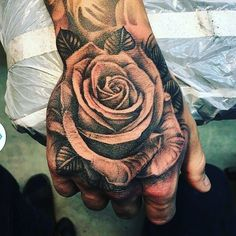 Hand shot by _____ Rose Tattoos For Men, Hand Tattoos For Guys, Rose Hand Tattoo, Arm Tattoo, Neue Tattoos, Body Art Tattoos, Tattoo Rosa Na Mao, Rosen Tattoo Mann, Hals Tattoo Mann
