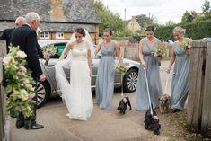 Bride, bridesmaids and dog flower girls arriving at Maidwell church in Northampton Farm Wedding, Wedding Ceremony, Reception, Bridesmaids, Bridesmaid Dresses, Wedding Dresses, Girl And Dog, Photography Portfolio, Flower Girls