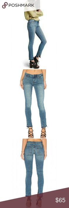 "Free People Side Split Skinny Jeans Laid-back and totally on trend, these must have jeans will quickly become a weekend essential.  Crafted from a cotton blend with a hint of stretch and understated fading, these mediun blue jeans are designed to hover just above the ankle with released, frayed and side split hems. Slim fit through hips and thighs. Cotton/Polyester/Spandex blend.Inseam is 28"", rise is 7.5"". Free People Jeans Ankle & Cropped"
