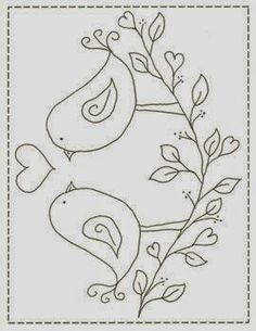 This & That Love Birds stitchery pattern in Crafts, Sewing & Fabric, Quilting Applique Patterns, Embroidery Applique, Cross Stitch Embroidery, Machine Embroidery, Embroidery Designs, Primitive Stitchery, Primitive Patterns, Colouring Pages, Hand Embroidery