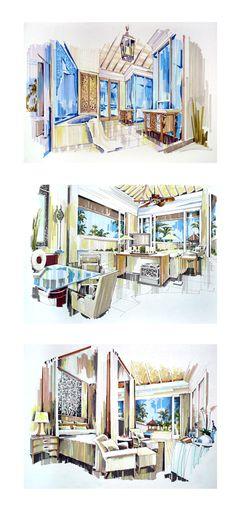 Interior design renderings. designer unknown.