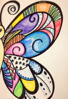 I drew this to teach line, pattern, design, and value to my 3rd, 4th and 5th grade art students....butterfly wings