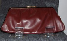Vintage Reversible Maroon/Navy Blue Leather Clutch with gold hardware circa 1960's by CurvyGirlCrafting78 on Etsy
