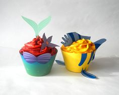 This is perfect for a Little mermaid or under the sea themed party. The Little Mermaid inspired Cupcake Wrappers and Toppers - Princess Ariel DIY Printable Kid's Party Decorations- Little Mermaid Cupcakes, Disney Cupcakes, Little Mermaid Birthday, Little Mermaid Parties, Cute Cupcakes, The Little Mermaid, Sea Cupcakes, Themed Cupcakes, Walt Disney