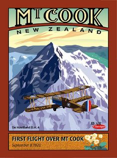 New Zealand art deco aviation postcard Mount Cook by Contour Creative Studio, via Flickr