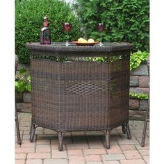 Resin Wicker Bar in 4 colors Tropical Outdoor Furniture, Outdoor Wicker Furniture, Outdoor Decor, Wicker Bar Stools, Cafe Style, Bar Set, Outdoor Areas, Glass Shelves, Indoor