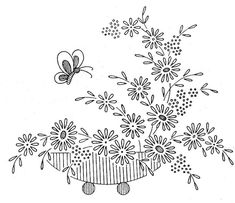 vintage embroidery pattern: potted flowers & a butterfly