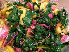 Bacon and Garlic Rainbow Swiss Chard