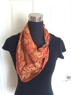 Vintage Paisley Pattern Silk Scarf in Burnt by ChrisTineDecor