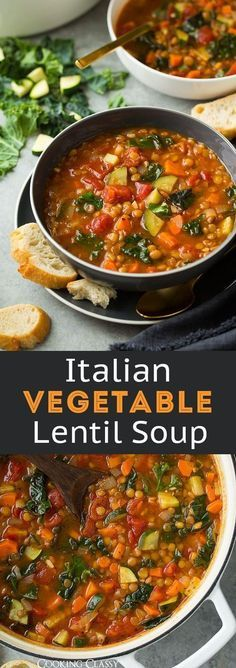 Italian Vegetable Lentil Soup – Seriously healthy soup and it's perfectly delicious! Tastes like minestrone. Italian Vegetable Lentil Soup – Seriously healthy soup and it's perfectly delicious! Tastes like minestrone. Healthy Soup Recipes, Veggie Recipes, Whole Food Recipes, Vegetarian Recipes, Cooking Recipes, Vegan Lentil Recipes, Vegtable Soup Recipes, Weightloss Soup Recipes, Cooked Vegetable Recipes