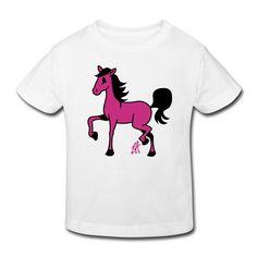 Paarden tekening op een bio T-Shirt voor kinderen. #Spreadshirt #Tekenaartje #Cardvibes #SOLD