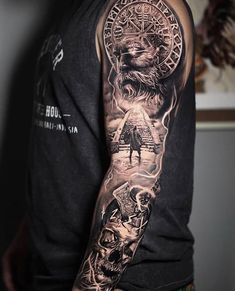 3 consecutive days working on this Viking sleeve ⚫ ⚕️ Viking Tattoo Sleeve, Viking Tattoo Symbol, Norse Tattoo, Arm Sleeve Tattoos, Arm Band Tattoo, Symbol Tattoos With Meaning, Symbolic Tattoos, Viking Tattoos For Men, Tattoos For Guys