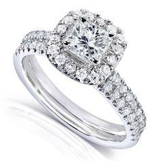 7/8ct TW Princess Cut Diamond Halo Bridal Set in 14k White Gold (Set of 2 Rings) - Listing price: $2,949.99 Now: $1,609.99