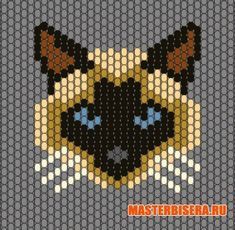 Bead-sewing graph of a Siamese cat. But I think it could also be used with a hexagonal peg-board for melty beads. Seed Bead Patterns, Beaded Jewelry Patterns, Peyote Patterns, Loom Patterns, Beading Patterns, Bracelet Patterns, Beaded Banners, Peyote Beading, Bead Jewelry