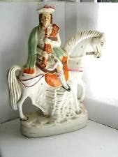 Victorian Staffordshire pottery figure Scottish bagpipe player on horse C1890
