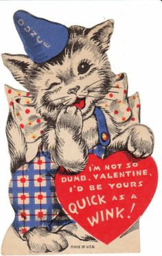 Vintage Valentine Card Dressed Cat in Dunce Cap 1940's Made in USA Die-Cut