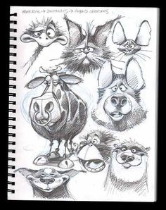 Animal Drawings A page from my sketchbook and the quick color sketches I created with them. Art And Illustration, Character Illustration, Illustrations, Character Design Cartoon, Character Design References, Character Drawing, Animal Sketches, Animal Drawings, Drawing Sketches