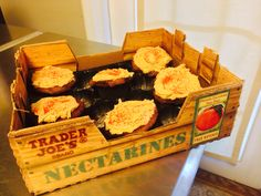 My niece baked me cupcakes for #Valentine's Day and cleverly boxed them in a Trader Joe's nectarine crate.