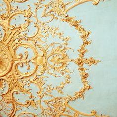 I love this photograph. I find architecture a great place to find inspiration.  The intricate designs in Elizabethan furniture or the bold designs of the turn of the century pieces.  In this photo I love the contrast between the pale blue and the rich gold.  The detail of the filigree.  I'm just dreaming up the ways I could mold wire into the amazing shapes in the photo...