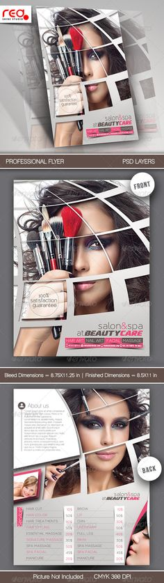 Beauty and Hair Salon Flyer by DesignMarket on @creativemarket - hair salon flyer template
