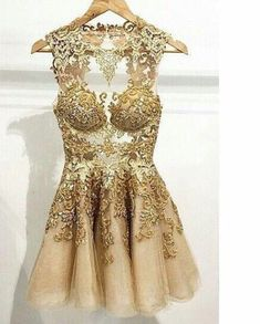Simple-dress Handmade Scoop Short Gold Tulle 2015 Homecoming Dresses/Cocktail Dresses/Party Dresses TUPD-70676 #dressesprom