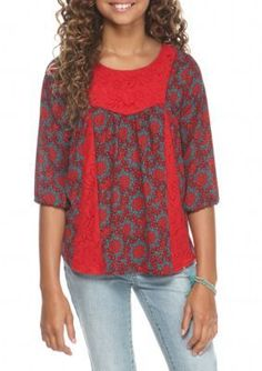 Red Camel  Woven Printed Top Girls 7-16