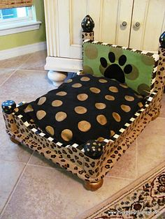 Dog bed made out of a coffee table.