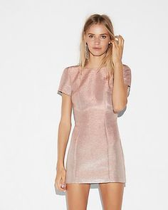 Metallic Short Sleeve Mini Sheath Dress, $58, Express