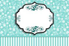 Moldura Convite e Cartão  Azul Tiffany Floral e Listras: