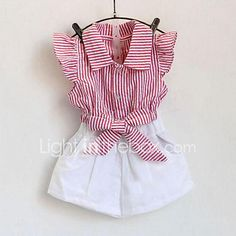 Girl Casual/Daily Striped Sets,Cotton Summer Sleeveless Clothing Set 2017 - €9.58