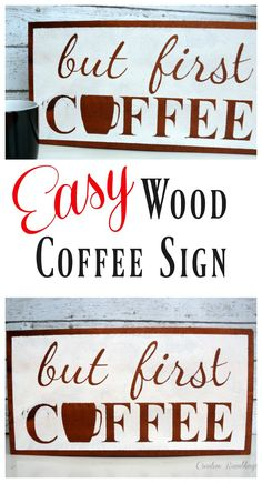 Make this easy wood coffee sign for your kitchen. Get the full tutorial here.