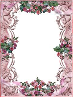 free flower frame for my picture download | Tiki's Pink Floral Frame