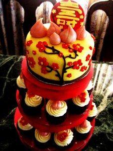 Chinese 80th birthday cake Longevity cherry blossoms red gold
