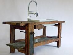 Una antigua mesa de carpintero ahora un fregadero para cocina - hazlo tú... ¡si puedes! :)