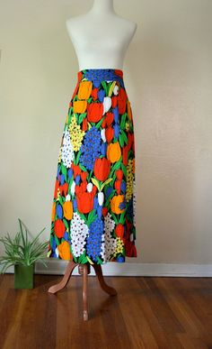 Vintage Maxi Skirt / 60's Tulip Floral High Waisted Long Skirt #fashion #vintage