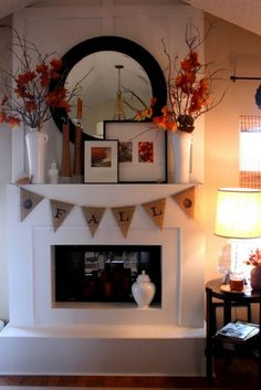 Have I mentioned that I love Fall? I've got 10 Fabulous Fall Decor Ideas to share with you today. It's not too late to get YOUR fall decor up! Fireplace Facing, Fall Fireplace, Fireplace Mantels, Fireplace Redo, Fireplace Ideas, Wooden Fireplace, Halloween Garland, Fall Halloween, Halloween Ideas