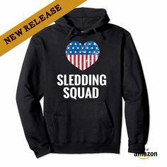 USA Flag Heart Sledding Squad Gift. I Love Sledding Hoodie, Hobbies and Interest, Pipe Sledding 2018