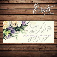 Wedding Save-the-Date Sample  with watercolor by Eventsbyicandy