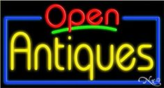 Antiques Open Handcrafted Energy Efficient Glasstube Neon Signs