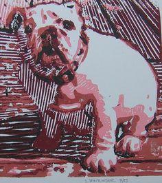 Bulldog Art Original Art Print Baby Meatball. $15.00, via Etsy.