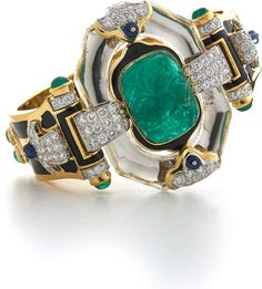 David Webb New York - Carved, cabochon, and pear-shaped emeralds, carved rock crystal, sapphire beads, brilliant-cut diamonds, black enamel, 18K gold, and platinum
